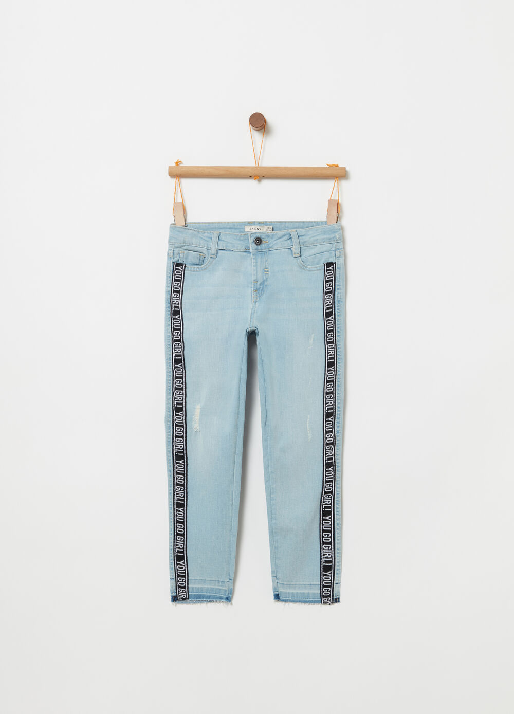 Skinny-fit stretch jeans with fringed hem
