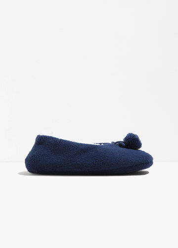 Fur slippers with pompoms