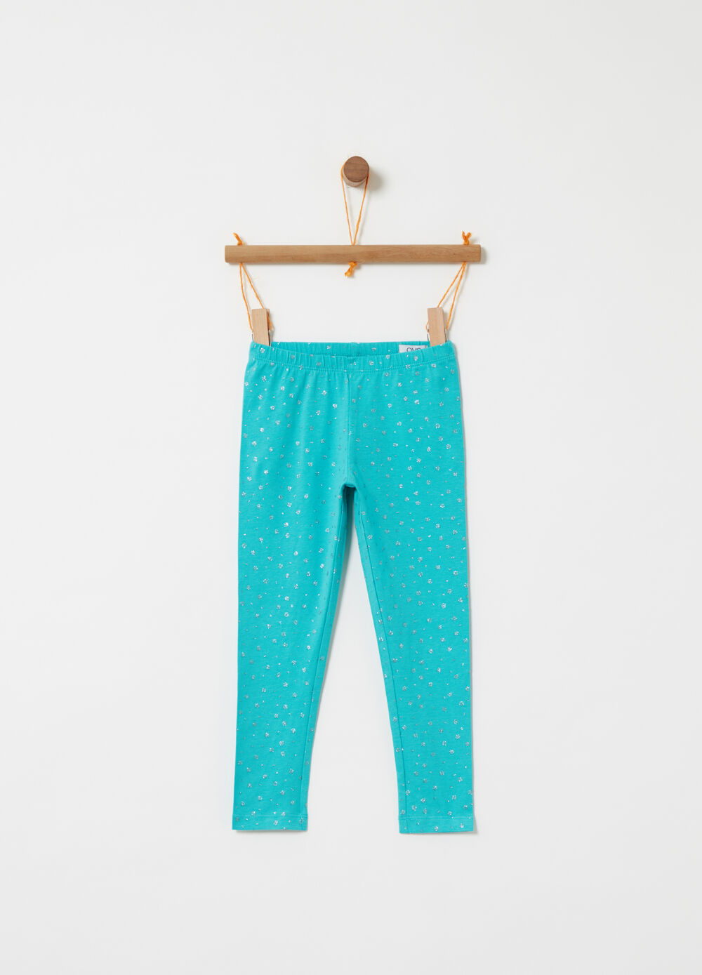 Jersey leggings with glitter polka dot pattern