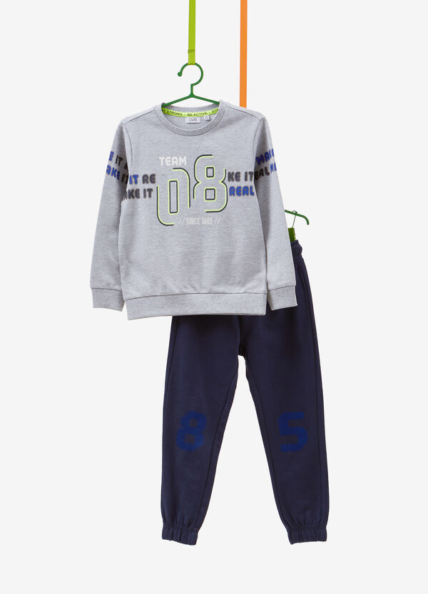 Cotton blend tracksuit with printed lettering