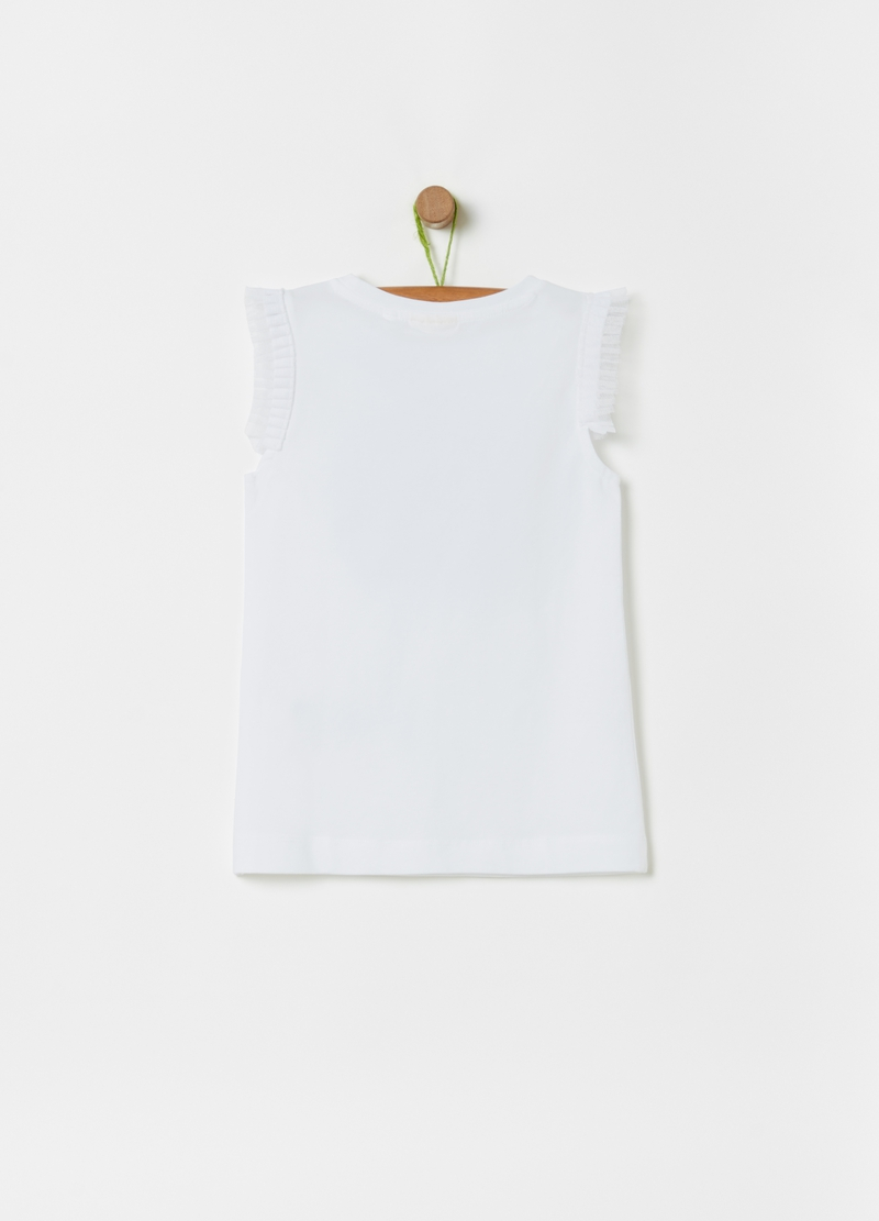 T-shirt cotone bio con stampa e strass image number null