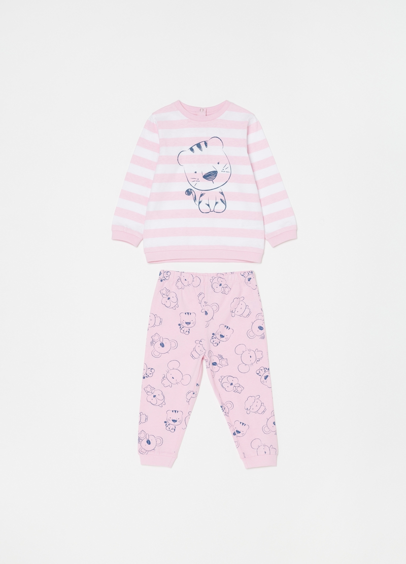 Organic cotton pyjamas with stripes image number null
