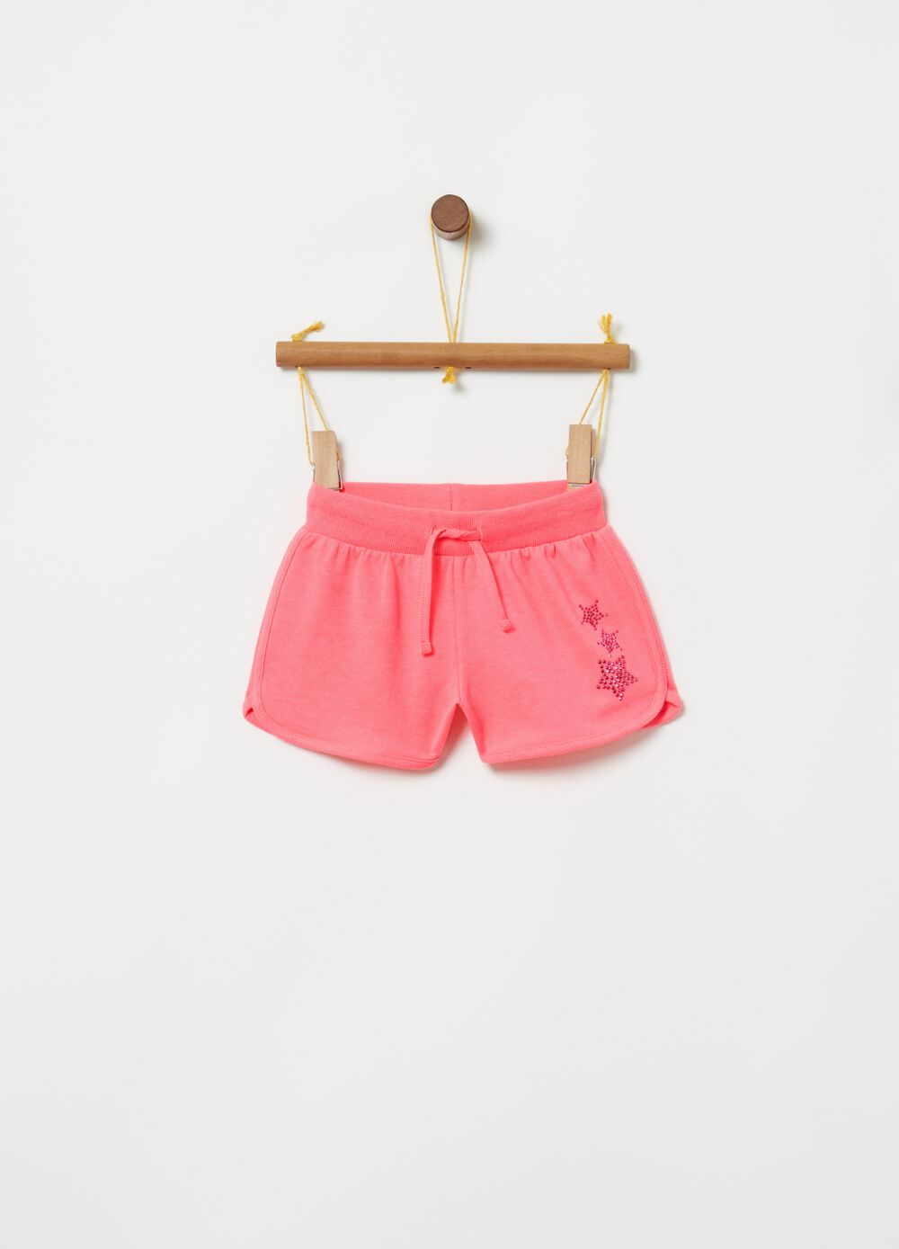 Shorts puro cotone coulisse e strass