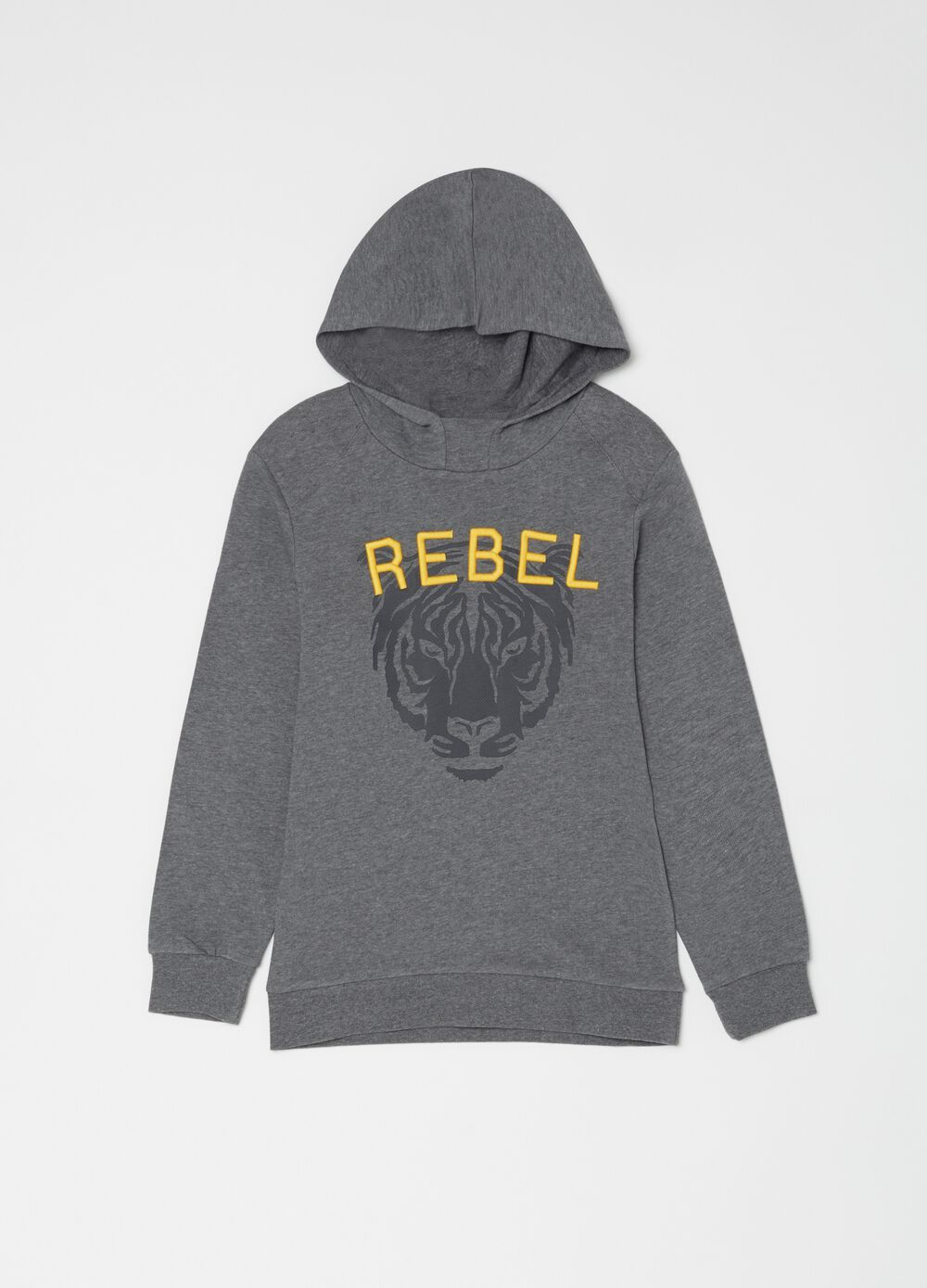 French terry sweatshirt with rubber tiger print