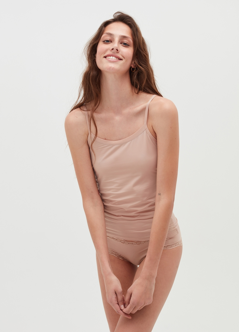 Microfibre vest with spaghetti straps image number null