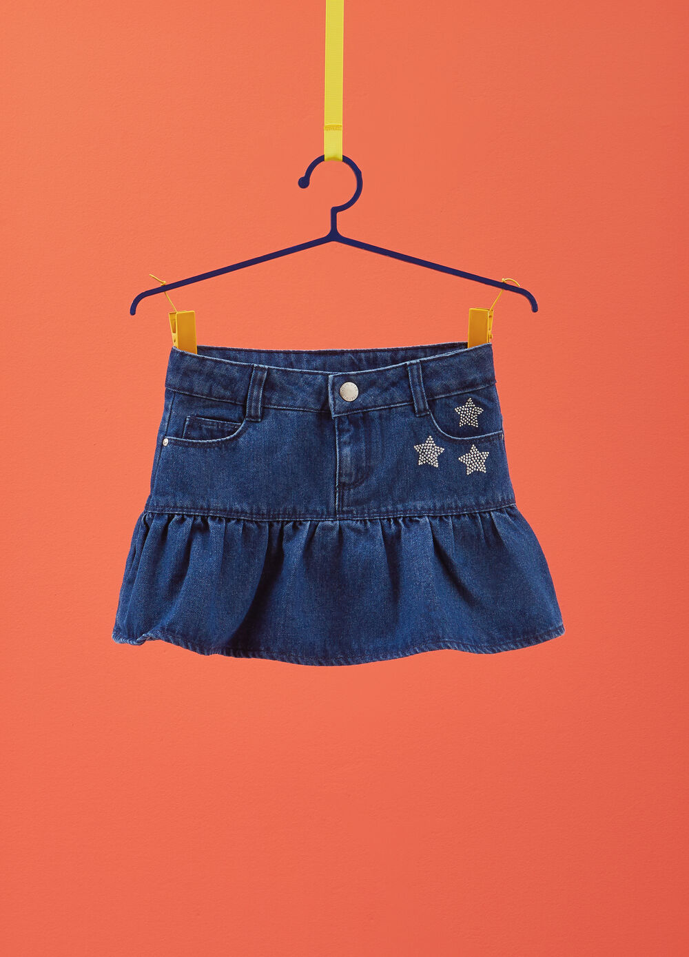 Denim skirt with star diamantés