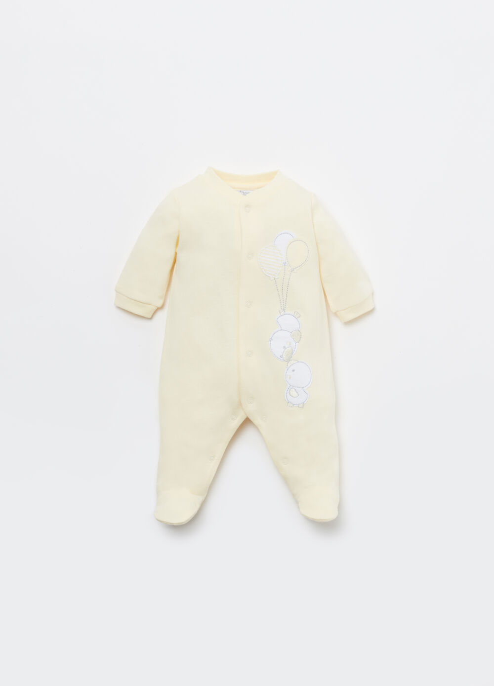 100% cotton onesie with embroidery and applications