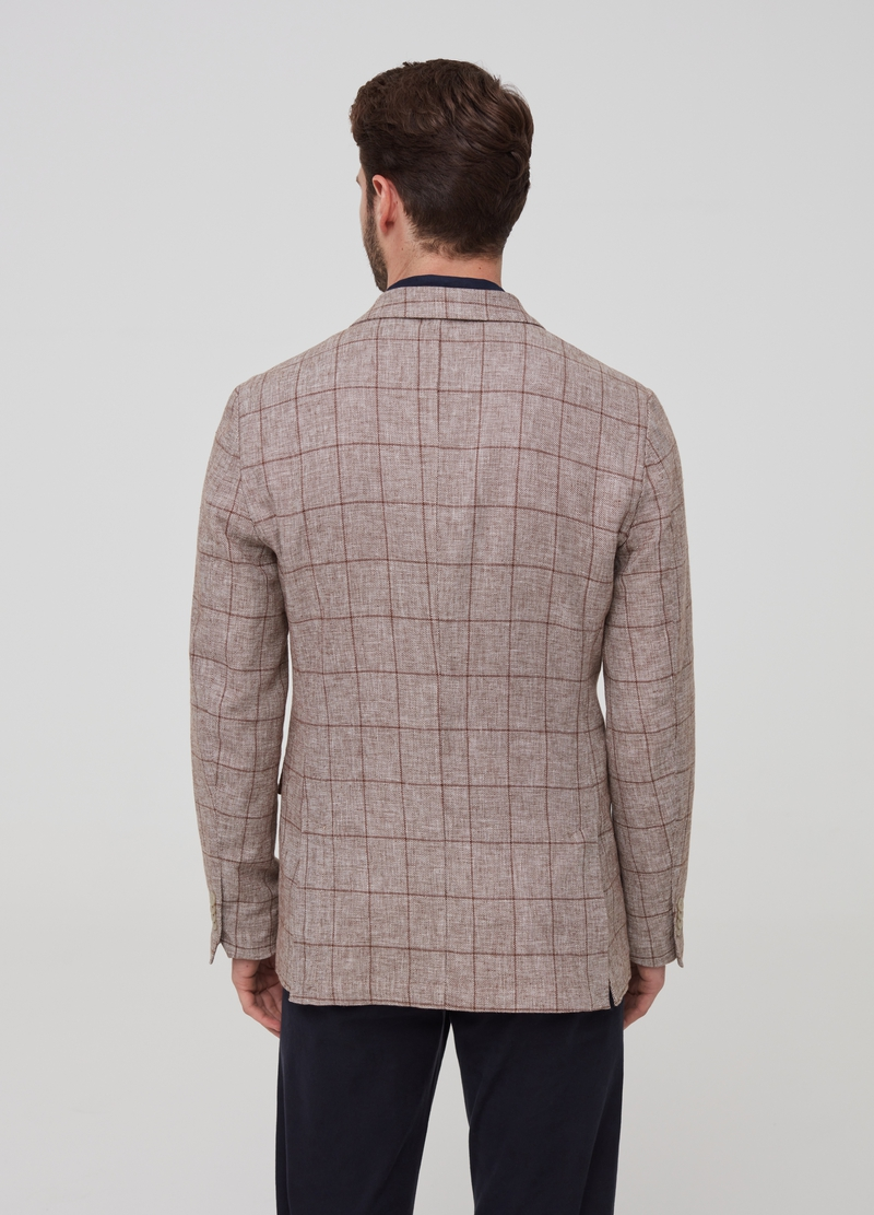 Blazer with lapels in linen and viscose image number null