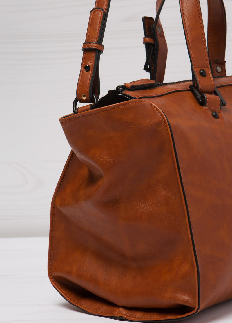 Leather look bag with adjustable strap. image number null