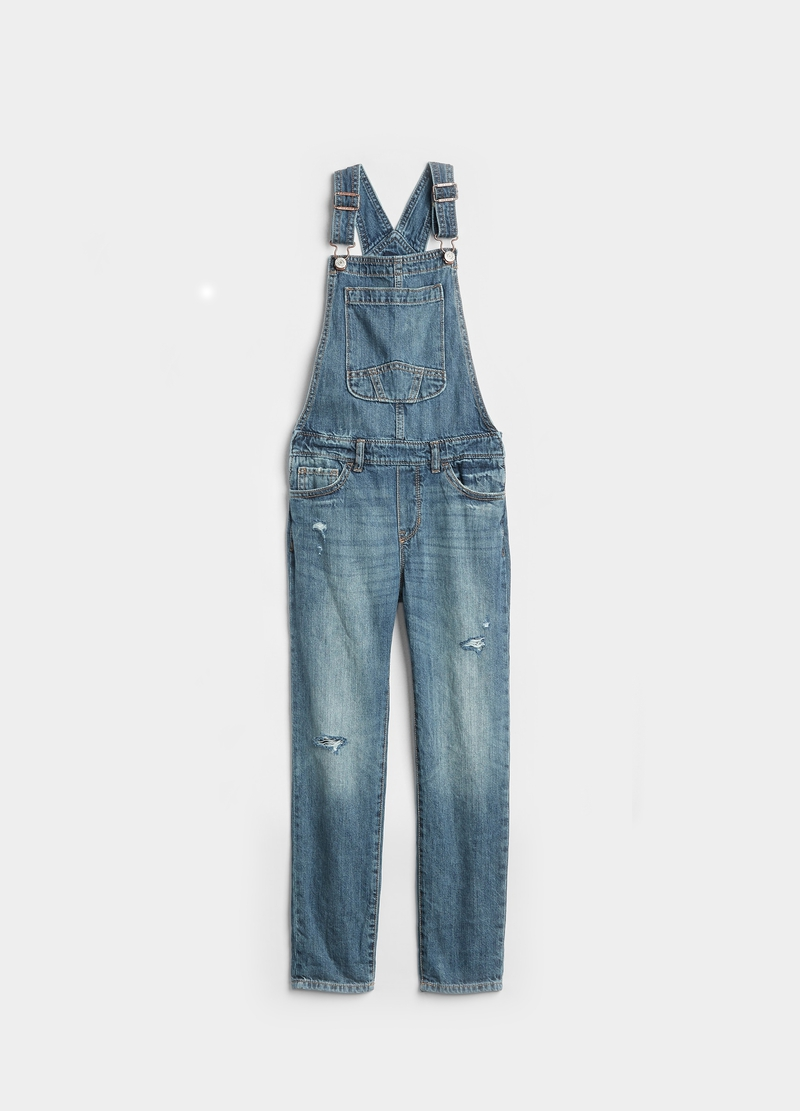 GAP denim dungarees with rips image number null