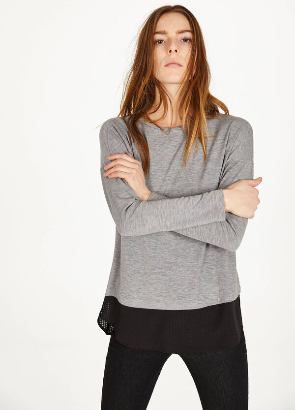 Stretch viscose T-shirt with insert