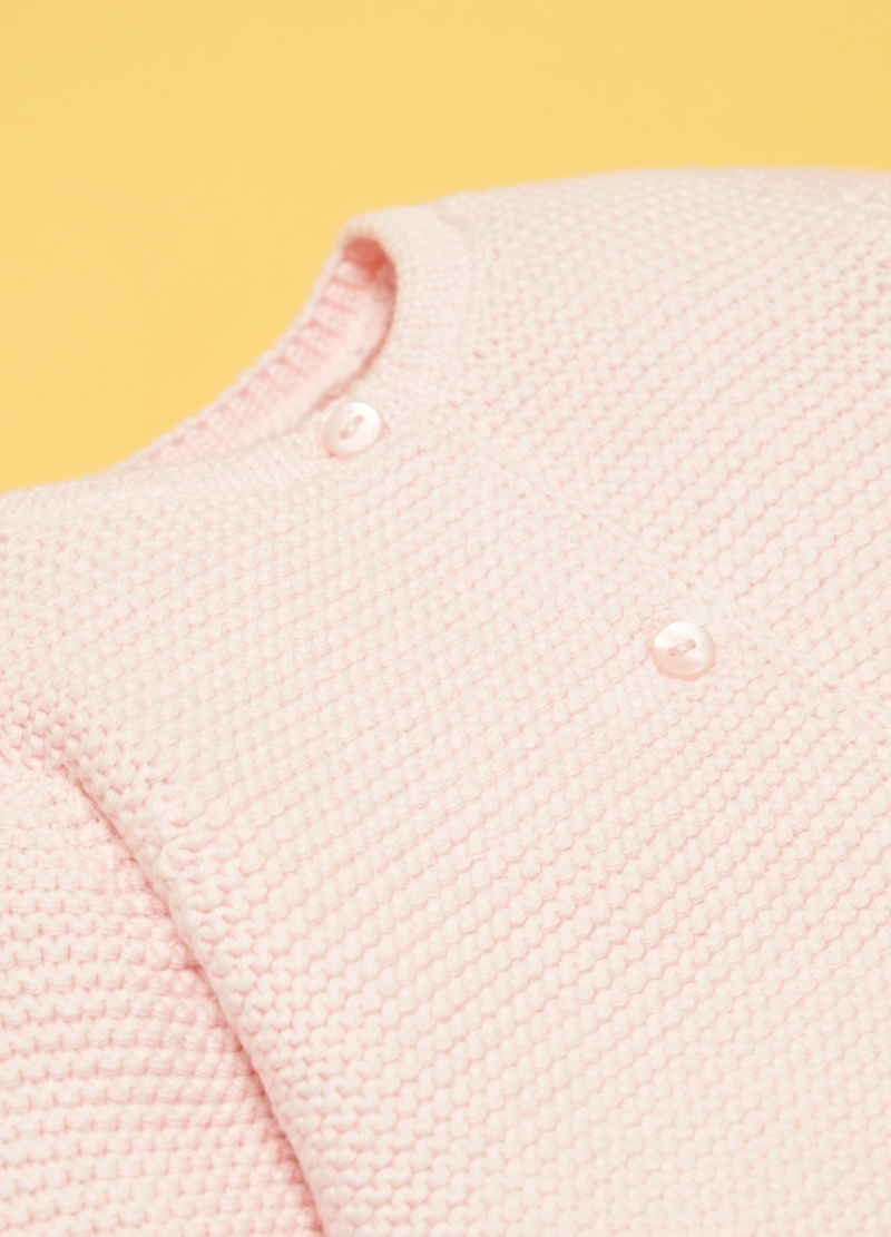 100% organic cotton cardigan with round neck image number null