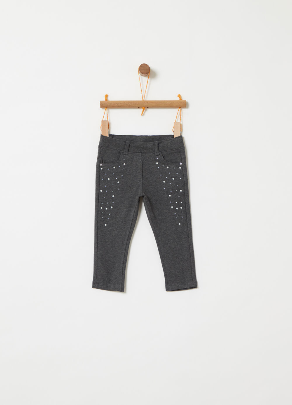 Jeggings French Terry con strass e perle