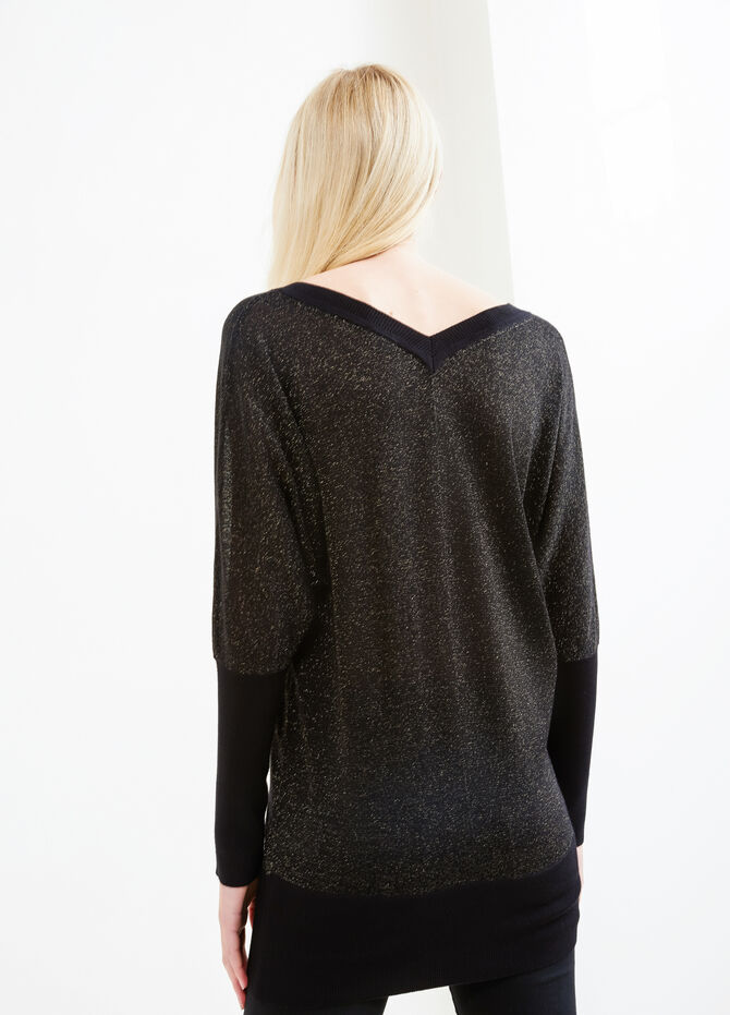 Knitted V-neck and lurex pullover
