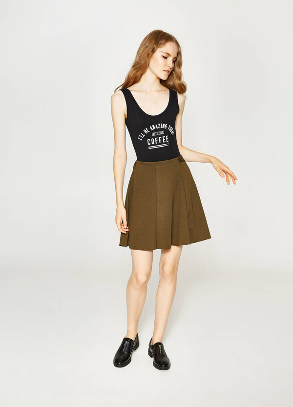 Top in stretch cotton with printed lettering