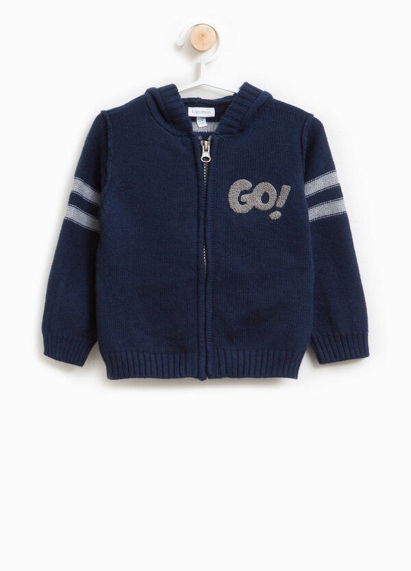 Wool and cotton blend cardigan with embroidery | OVS