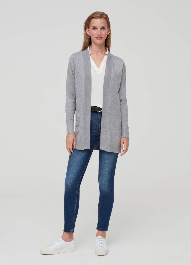 Long cardigan with drop shoulders image number null