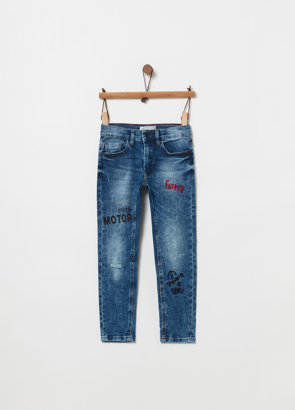 Slim-fit stretch jeans with embroidery and print