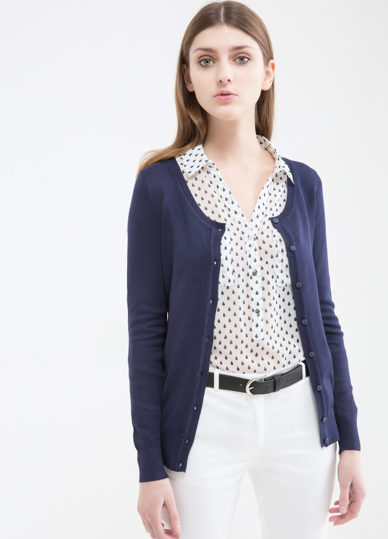 Solid colour viscose blend cardigan. image number null