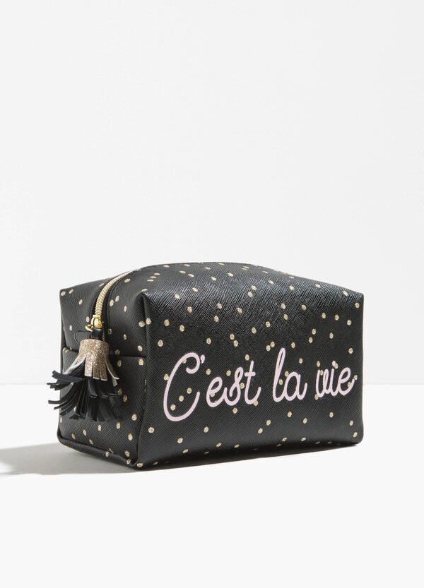 Beauty bag with zip and printed lettering | OVS