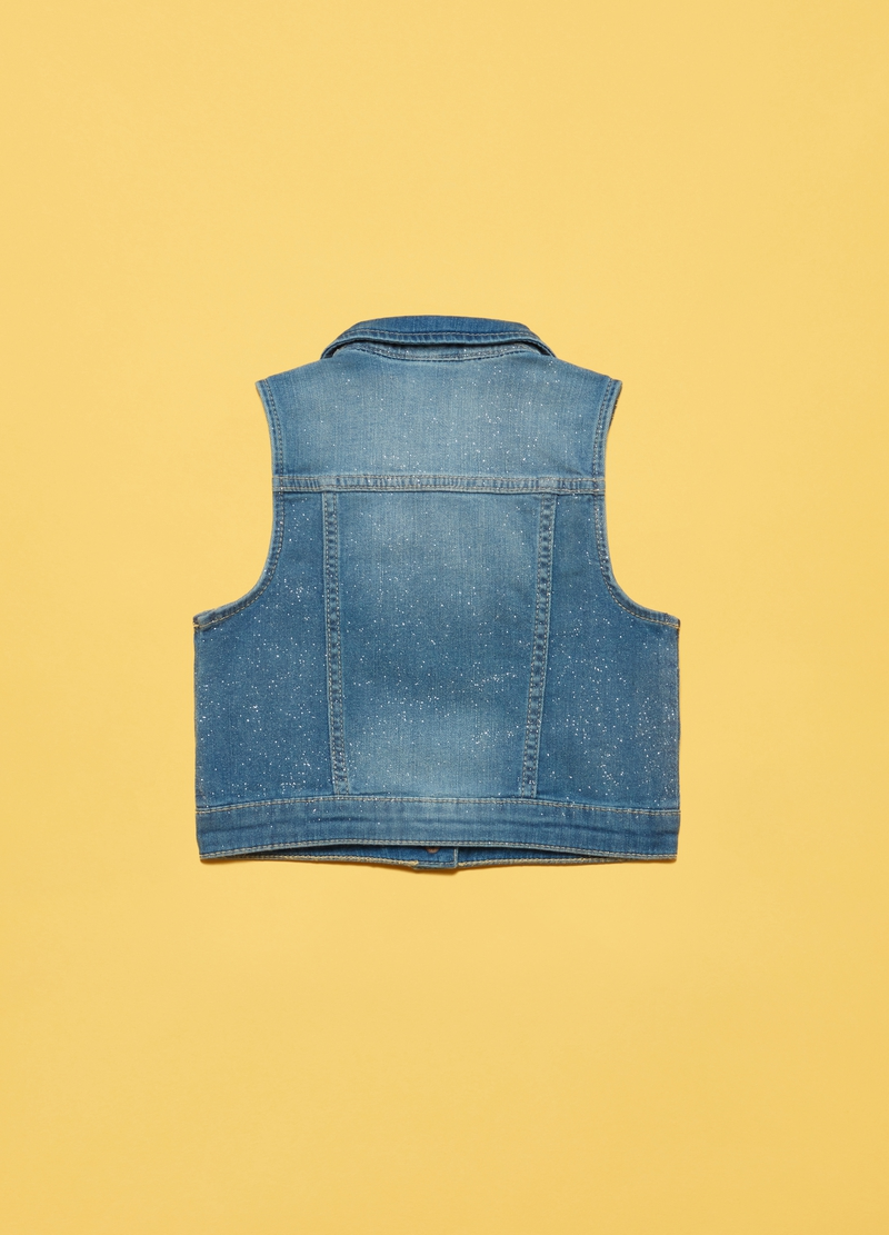 Gilet in denim effetto glitter image number null