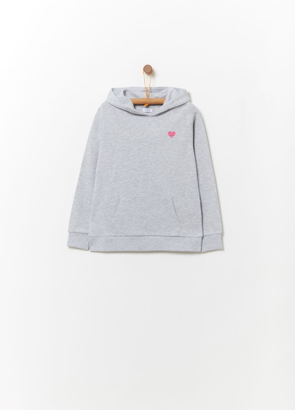 Solid colour sweatshirt with heart embroidery
