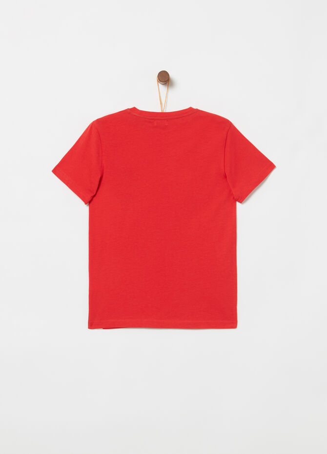 Jersey T-shirt with ribbing and printed tape