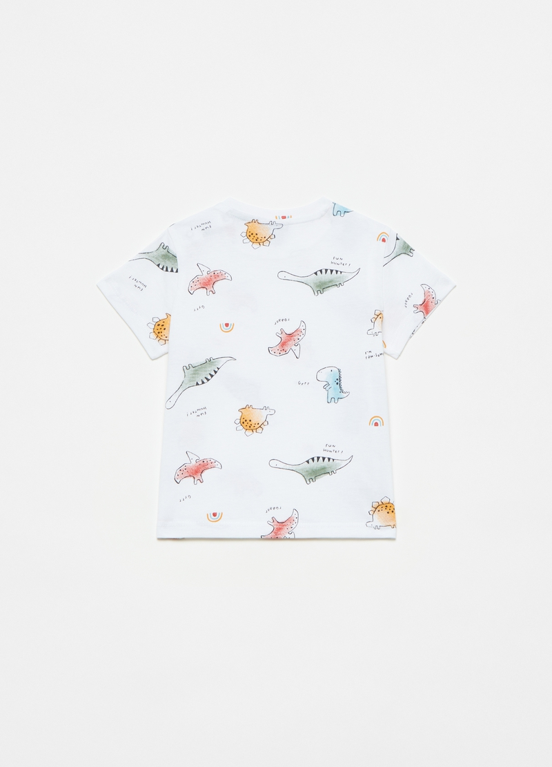 Cotton T-shirt with dinosaurs print image number null