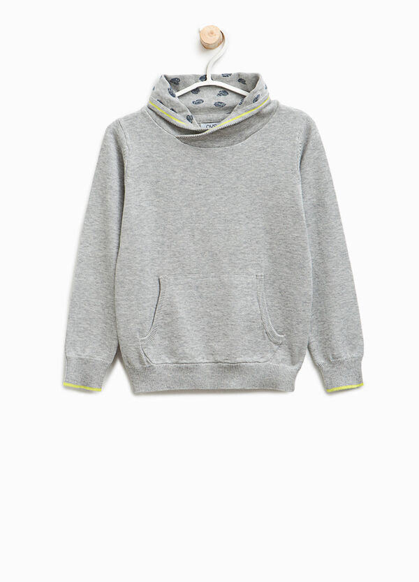 Pullover with high neck and pouch pocket
