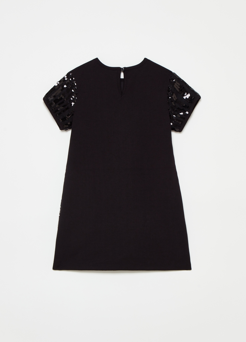Dress with round neck and sequins image number null