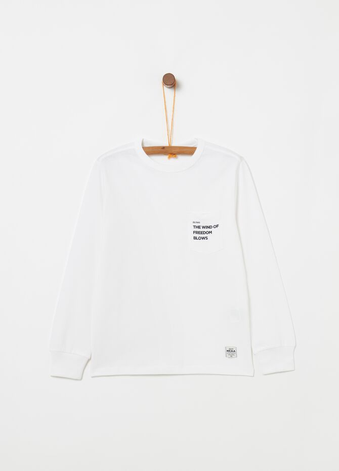 100% cotton T-shirt with pocket and print