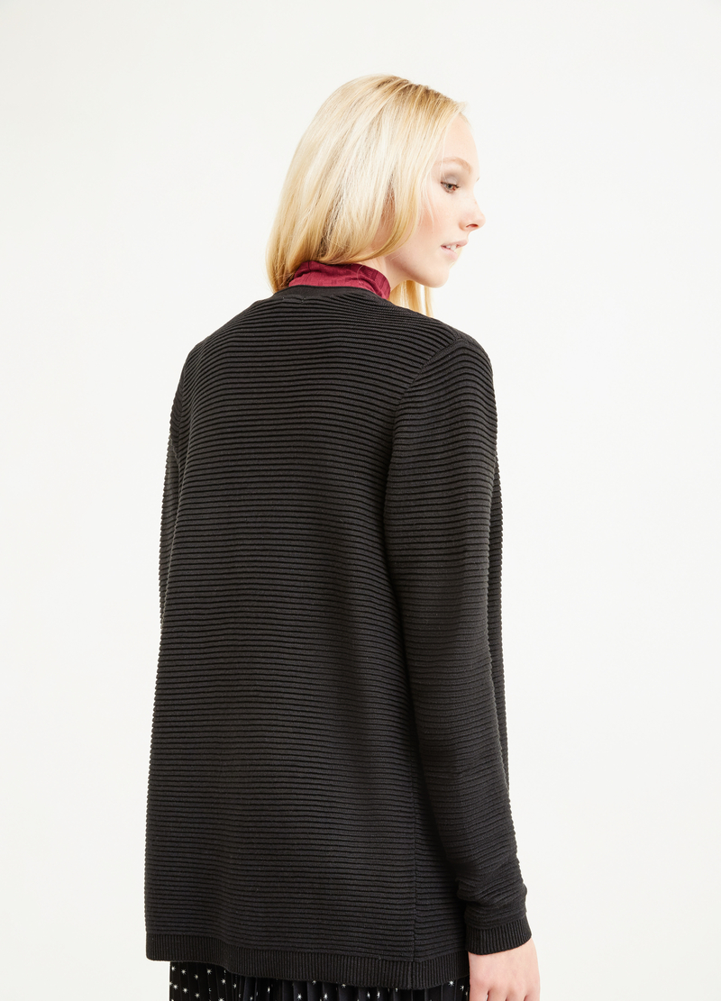 Cotton blend ribbed cardigan image number null
