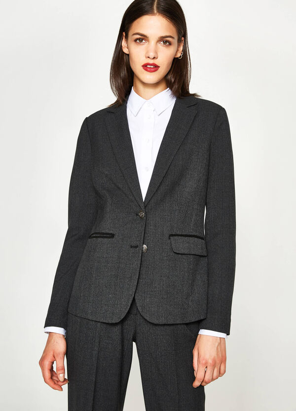 Blazer in viscosa stretch a quadri