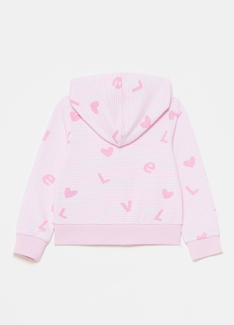 Full-zip sweatshirt with hood and all-over print image number null