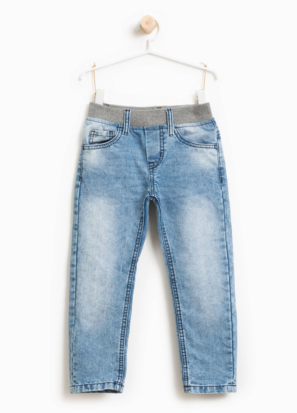 Misdyed jeans with fading