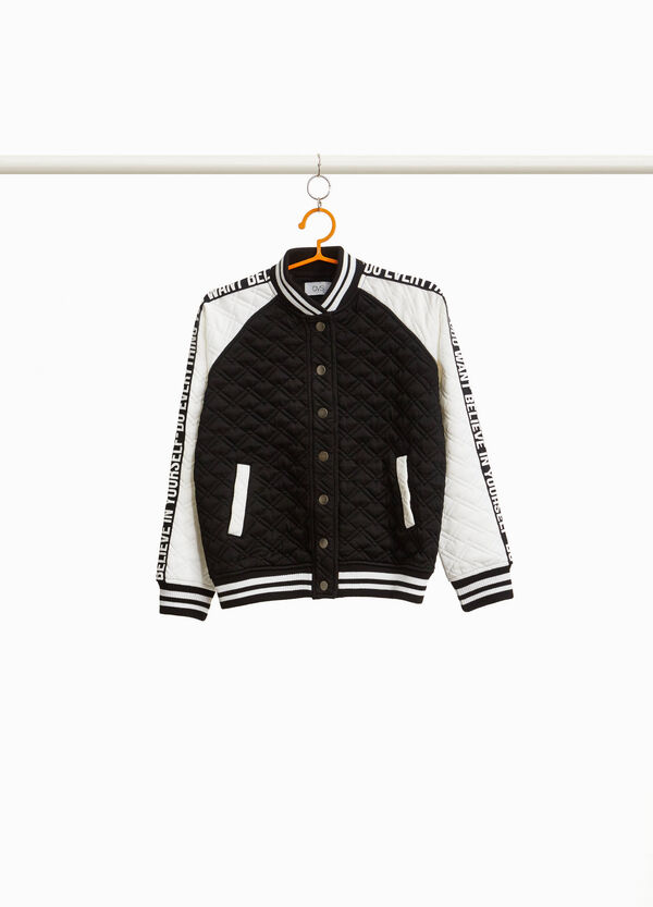 Two-tone diamond weave bomber jacket
