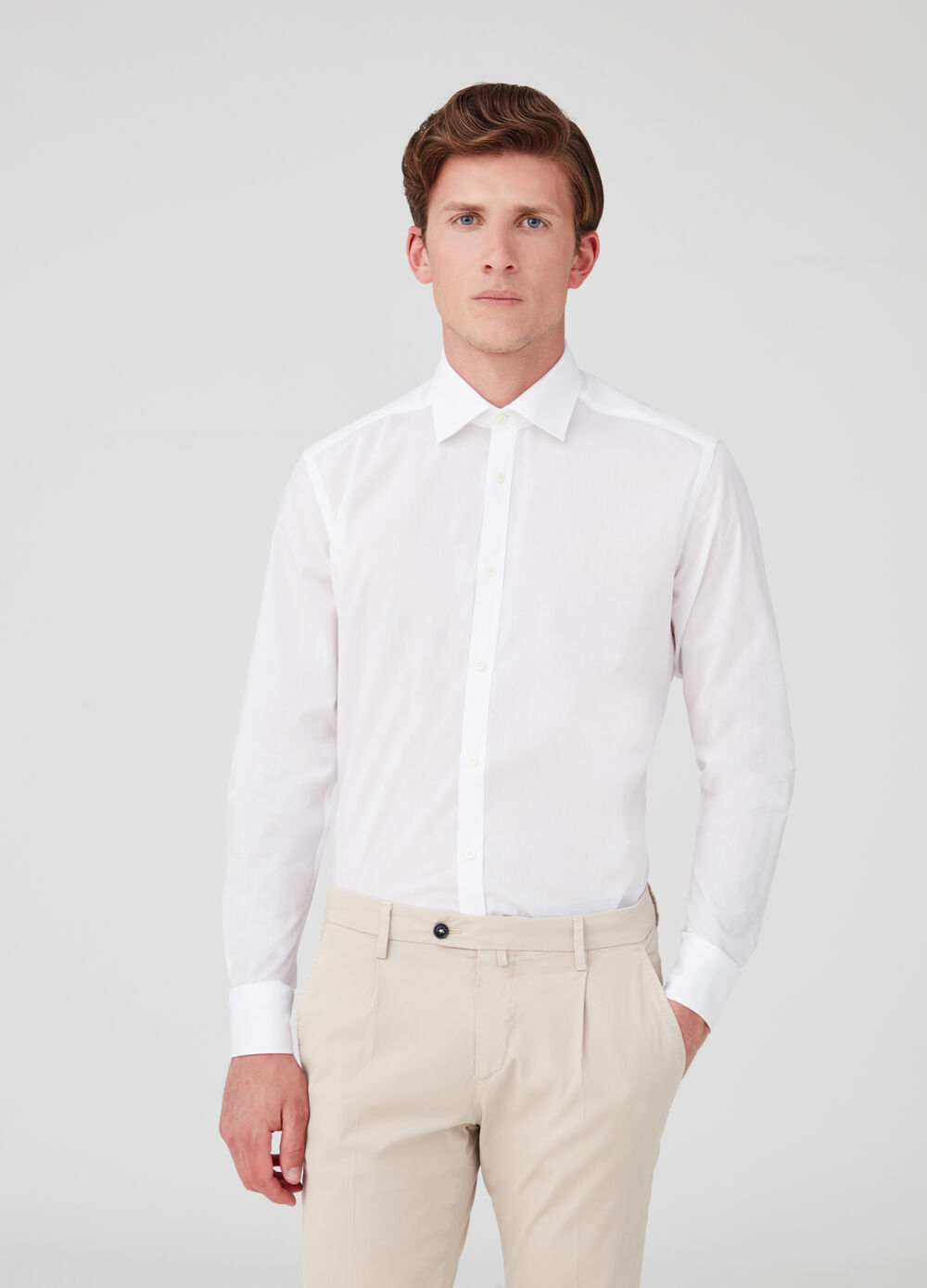 Slim-fit poplin shirt with rounded cuffs