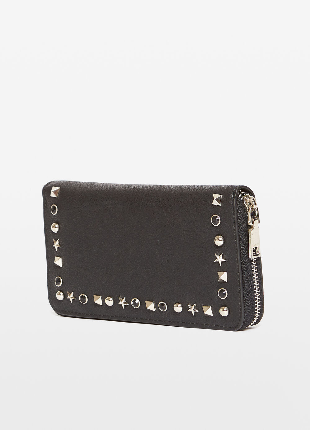 Textured-effect purse with studs
