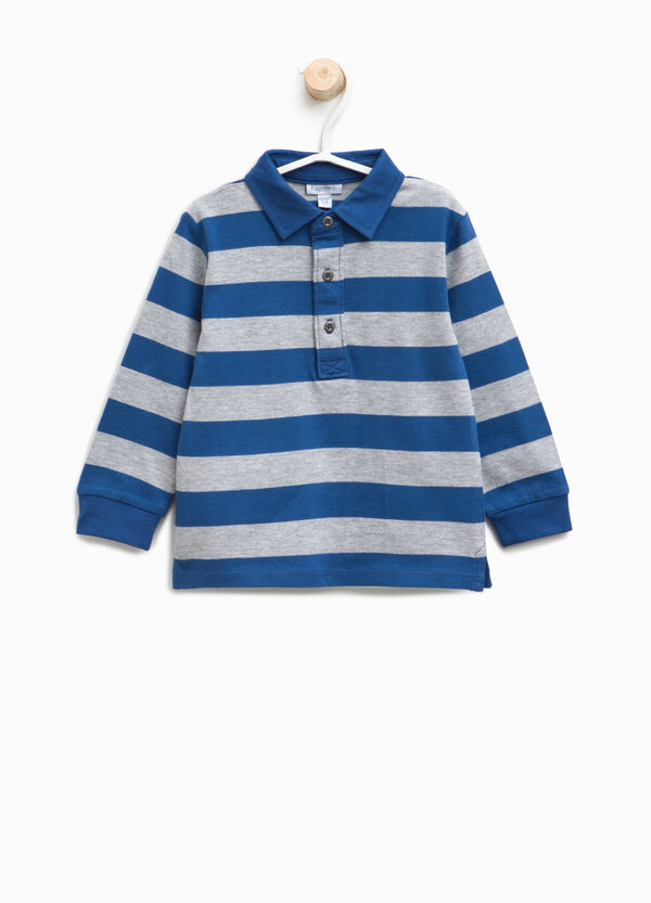 Striped cotton and viscose polo shirt | OVS