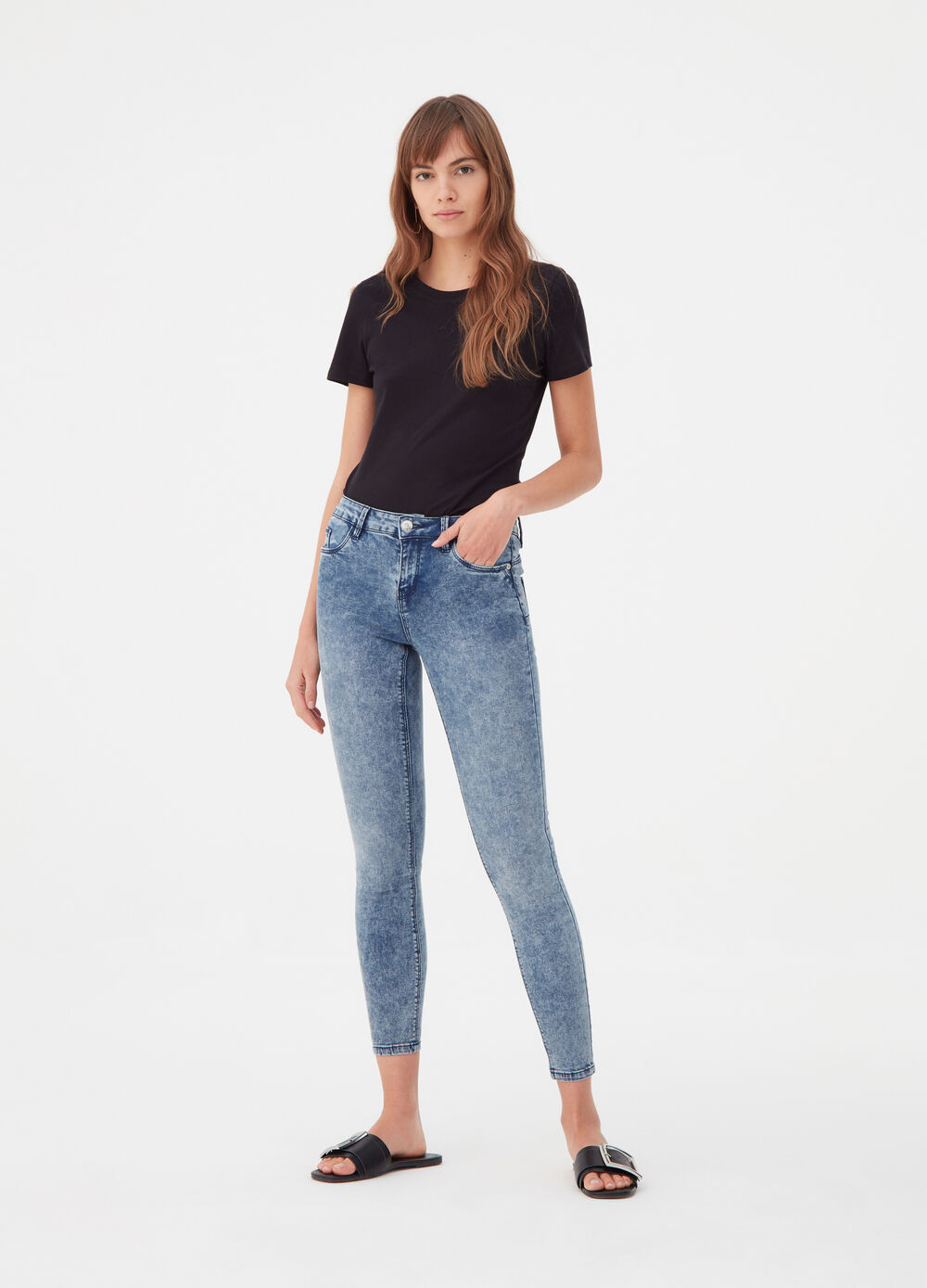 Push-up body-shaping-effect jeans