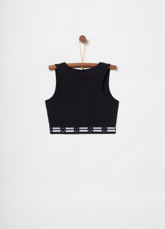Diamanté smiley crop top with elastic hem