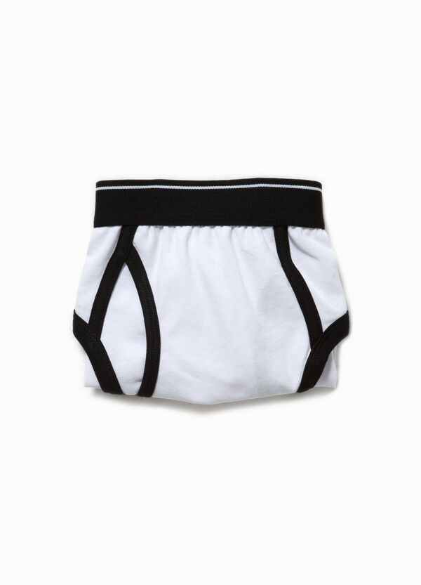 Printed stretch cotton briefs with piping