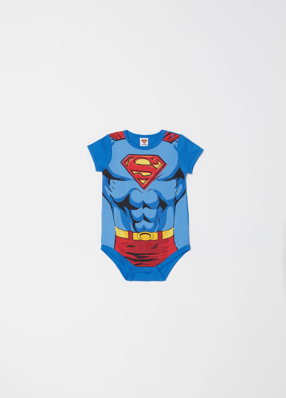 Cotton Superman bodysuit with short sleeves