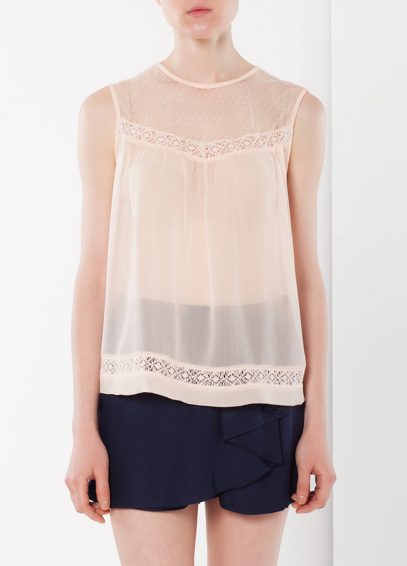 Semi-sheer top with lace inserts image number null