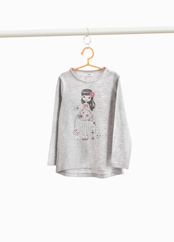 Cotton and viscose T-shirt with girl print