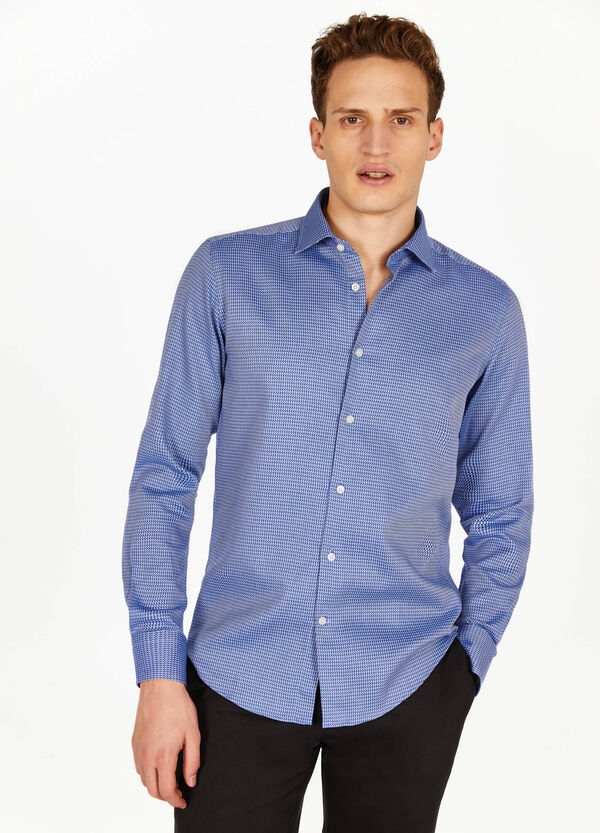 Slim-fit formal patterned shirt