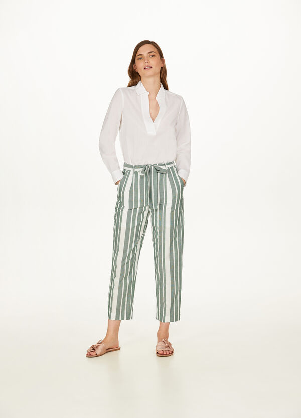 100% cotton crop trousers with high waist