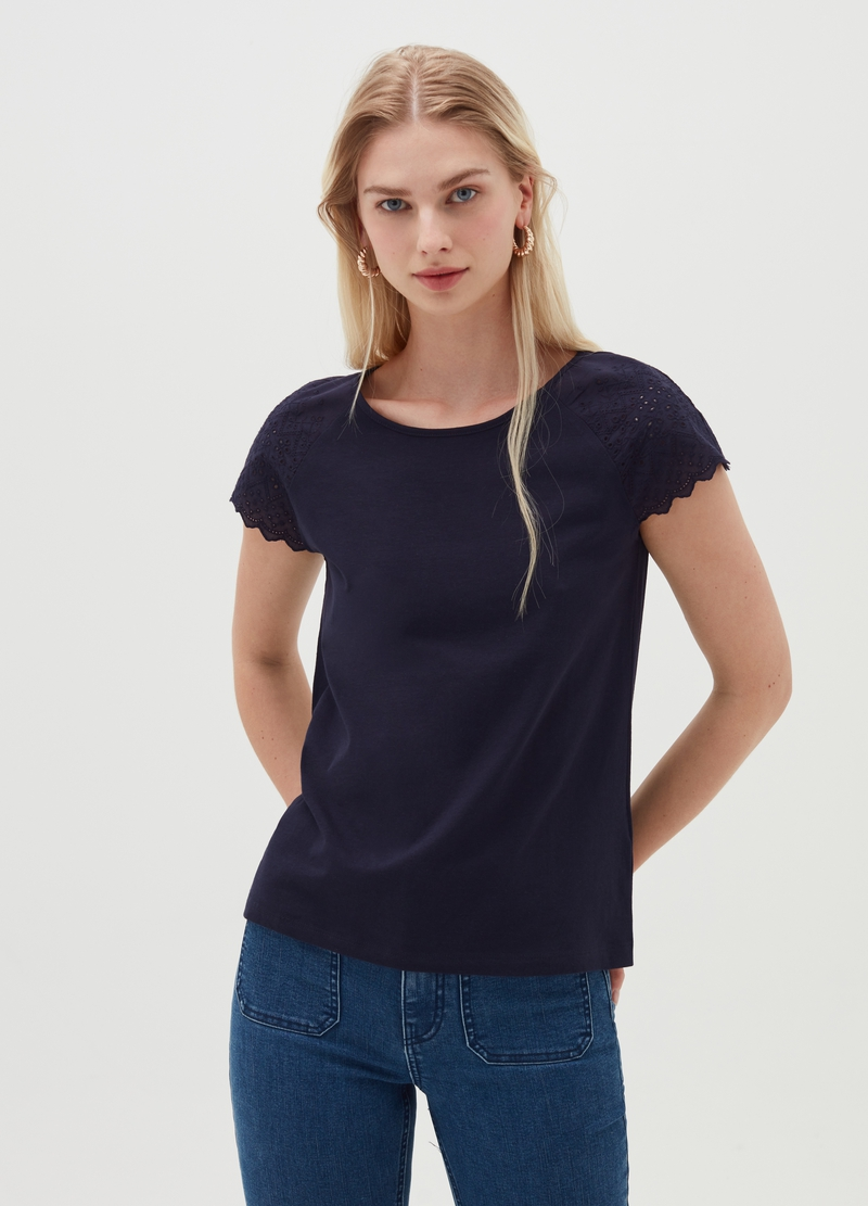 T-shirt with broderie anglaise sleeves image number null