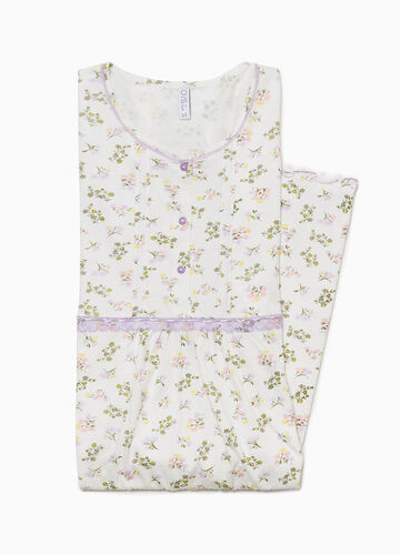 Floral nightshirt with buttons