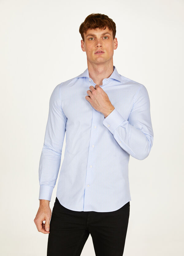 Slim-fit formal check shirt with spread collar